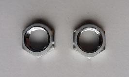 Befestigungsmuttern für Becker Autoradios mit 6mm Steckachse. Metall verchromt. Art.nr.: 10085