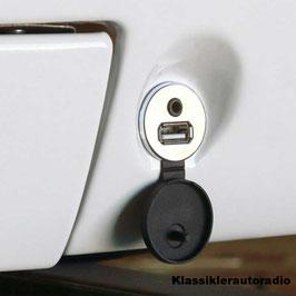 USB Einbaubuchse und 3,5 mm Klinkenbuchse. Kabellänge 130 cm. Chrom. Art.nr.: 10039
