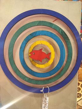 """Mobile/ Windspiel """"Kreise und ein Fisch"""""""