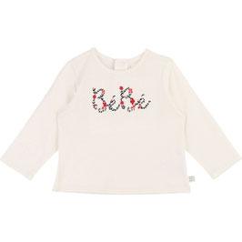 ベビー女児コットン長袖Tシャツ(白)