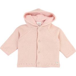 ベビー女児フード付きニットコート(ピンク)