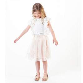 チュールスカート(フラワー刺繍 )ペールピンク