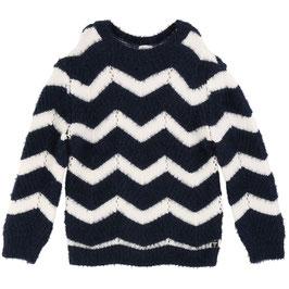 女児チュニックセーター(ネイビー×ホワイト)