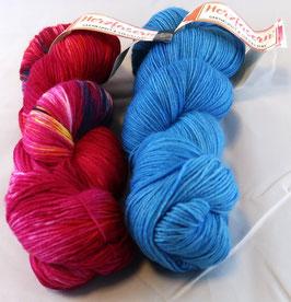 Herzfasern Sockenwolle Nr. 20 handgefärbt