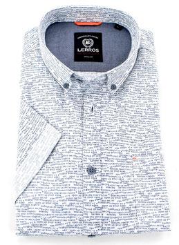 Sporthemd 1/2, weiß-blau gemustert