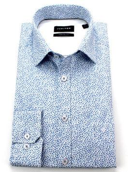 City Hemd, hellblau gemustert