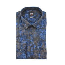 City Hemd, blau gemustert