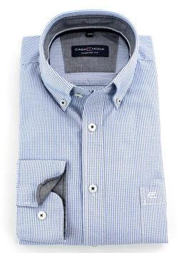Sporthemd, blau-weiß gemustert