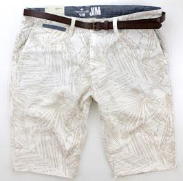 Bermuda-Short, weiß, Palmen Muster