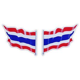 ダブルセット | タイ王国 国旗 ステッカー(THAILAND Flag Sticker ) M サイズ 2P mix - タイ雑貨 アジアン 雑貨 スーツケース トランク 旅行 グッズ -