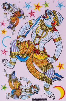 タイ王国 ハヌマーン 神 ステッカー(THAILAND HANUMAN Sticker 15P mix B) L サイズ - タイ雑貨 アジアン 雑貨 スーツケース トランク 旅行 グッズ -