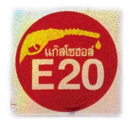E20 ( バイオ エタノール ガソリン ) & タイ文字  Red & Silver & Gold ( レッド& シルバー & ゴールド / ラメタイプ ) アジアン ステッカー  【タイ雑貨 Thailand Sticker】