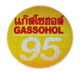 95 GASSOHOL  ( ガソホール ハイオク ガソリン) & タイ 文字  Gold &  Silver & Red (ゴールド & シルバー & レッド ラメタイプ) アジアン ステッカー  【タイ雑貨 Thailand Sticker】