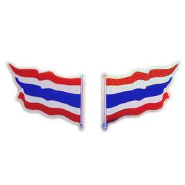 ダブルセット | タイ王国 国旗 ステッカー(THAILAND Flag Sticker ) S サイズ ラメ 2P mix - タイ雑貨 アジアン 雑貨 スーツケース トランク 旅行 グッズ -