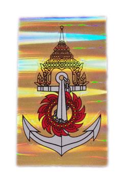 【ミリタリー / 軍隊 グッズ 】 タイ王国 海軍 紋章 エンブレムステッカー シルバー (ROYAL THAI NAVY Sticker / Silver  キラタイプ) M サイズ type D 1枚 【タイ雑貨 Thailand Sticker】