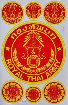 【ミリタリー / 軍隊 グッズ 】タイ王国 陸軍 ステッカー(ROYAL THAI ARMY Sticker 7P mix A) L サイズ【タイ雑貨 Thailand Sticker】