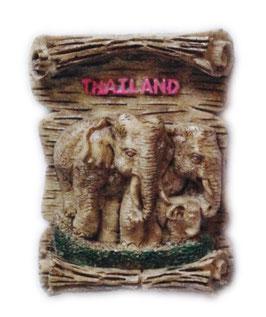 タイ王国 エレファント 3D 立体 ハンドメイド マグネット type D (象(ゾウ) × ウッド タイプ) 【タイ雑貨 Thailand 3D Hand made Magnet】