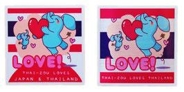 ダブルセット | タイぞう ラブ 2P mix ステッカー [LOVE!(だいすき!)] 6×6cm t1&t4 (THAI-ZOU sticker)