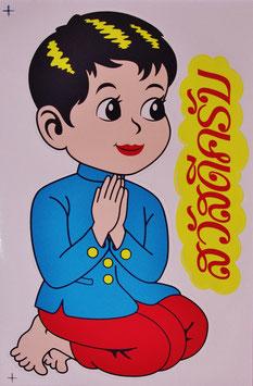 「合掌・ワイ」 文字 イラスト ステッカー (THAILAND Kids Sticker 2P mix type C) L サイズ - タイ アジアン 雑貨 スーツケース 旅行 グッズ -