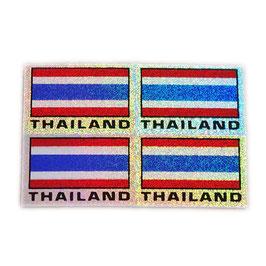 タイ王国 国旗 ステッカー(THAILAND Flag Sticker 4p-英語 文字 ラメ mix ) S サイズ type A  - タイ雑貨 アジアン 雑貨 スーツケース トランク 旅行 グッズ -
