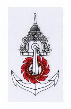 【ミリタリー / 軍隊 グッズ 】 タイ王国 海軍 紋章 エンブレムステッカー ホワイト (ROYAL THAI NAVY Sticker / White) M サイズ typeE  1枚 【タイ雑貨 Thailand Sticker】