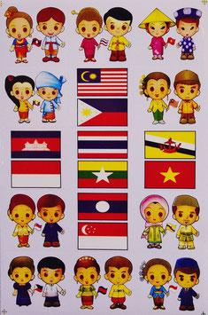 タイ & ASEAN 加盟国 ペア+ 国旗 ステッカー (THAI & ASEAN Flag Sticker 15P mix) L サイズ type A  - タイ アジアン 雑貨 スーツケース 旅行 グッズ -