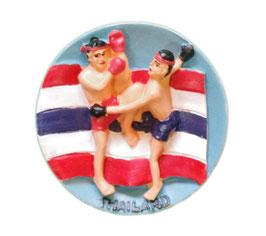 タイ王国 国旗 3D 立体 ハンドメイド マグネット type D (フラッグ+ムエタイ / キックボクシング タイプ) 【タイ雑貨 Thailand 3D Hand made Magnet】