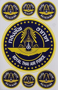 【ミリタリー / 軍隊 グッズ 】タイ王国 空軍 ステッカー(ROYAL THAI AIR FORCE Sticker 7P mix A) L サイズ【タイ雑貨 Thailand Sticker】