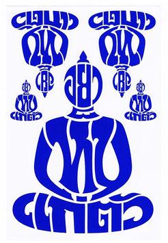 BUDDHA 仏像 坐禅 タイ文字 タイ語 アジアン ステッカー ブルー L サイズ 1枚 【タイ雑貨 Thailand Sticker】