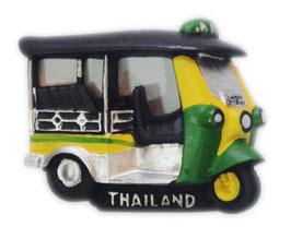 タイ王国 TUKTUK(トゥクトゥク) 3D 立体 ハンドメイド マグネット Yellow & Green  type B (イエロー・黄色 × グリーン・緑色 Bタイプ) 【タイ雑貨 Thailand 3D Hand made Magnet】