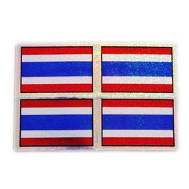 タイ王国 国旗 ステッカー(THAILAND Flag Sticker 4p-無文字 ラメ mix ) S サイズ type A  - タイ雑貨 アジアン 雑貨 スーツケース トランク 旅行 グッズ -