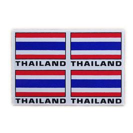 タイ王国 国旗 ステッカー(THAILAND Flag Sticker 4p-英語文字 mix ) S サイズ type A  - タイ雑貨 アジアン 雑貨 スーツケース トランク 旅行 グッズ -
