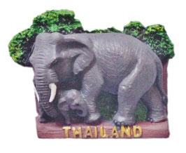 タイ王国 エレファント 3D 立体 ハンドメイド マグネット type A (象(ゾウ) × ウッド タイプ) 【タイ雑貨 Thailand 3D Hand made Magnet】