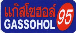 95 GASSOHOL  (ブルー &レッド 四角) タイ アジアン ステッカー  1枚 【タイ雑貨 Thailand Sticker】