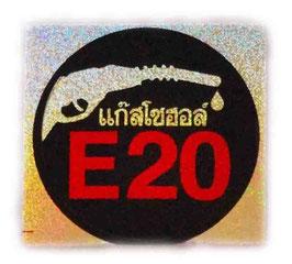 E20 ( バイオ エタノール ガソリン ) & タイ文字  Black & Red & Silver ( ブラック & レッド & シルバー / ラメタイプ ) アジアン ステッカー  【タイ雑貨 Thailand Sticker】
