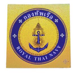 【ミリタリー / 軍隊 グッズ 】 タイ王国 海軍 紋章 エンブレムステッカー ゴールド×ブルー (ROYAL THAI NAVY Sticker / ラメタイプ) M サイズ type A 【タイ雑貨 Thailand Sticker】