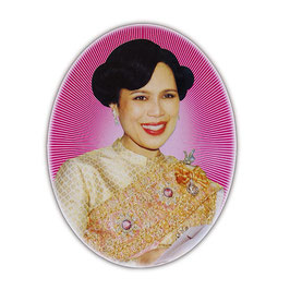 タイ 王室 ステッカー シリキット王妃 写真肖像 光背 Mサイズ typeA - タイ雑貨 アジアン 雑貨 スーツケース  旅行 グッズ -