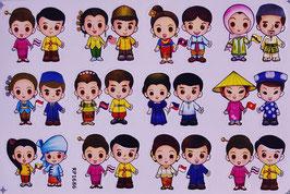 タイ & ASEAN 加盟国 ペア+ 国旗 ステッカー (THAI & ASEAN pair Sticker 12P mix) L サイズ type A  - タイ アジアン 雑貨 スーツケース 旅行 グッズ -