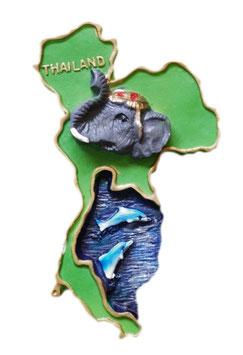 タイ王国 国旗 3D 立体 ハンドメイド マグネット type E (地図+エレファント(象)/ ドルフィン(イルカ) タイプ) 【タイ雑貨 Thailand 3D Hand made Magnet】