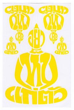 BUDDHA 仏像 坐禅 タイ文字 タイ語 アジアン ステッカー イエロー L サイズ 1枚 【タイ雑貨 Thailand Sticker】