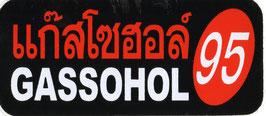 95 GASSOHOL  (ブラック &レッド 四角) タイ アジアン ステッカー  1枚 【タイ雑貨 Thailand Sticker】