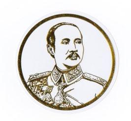 タイ 王室 ステッカー チュラーロンコーン国王(ラーマ5世) 肖像 ゴールド丸型Mサイズ  1枚 【タイ雑貨 Thailand Sticker】