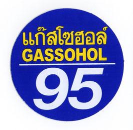 95 GASSOHOL  & タイ 文字   Blue & Yellow (ブルー & イエロー・丸型) アジアン ステッカー   1枚 【タイ雑貨 Thailand Sticker】