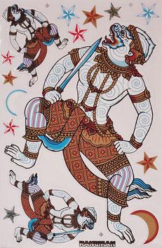 タイ王国 ハヌマーン 神 ステッカー(THAILAND HANUMAN Sticker 15P mix A) L サイズ - タイ雑貨 アジアン 雑貨 スーツケース トランク 旅行 グッズ -