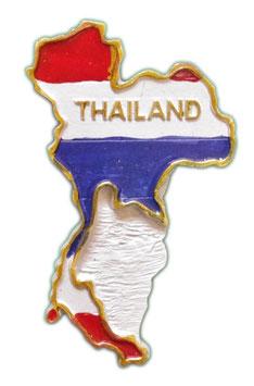 タイ王国 地図+国旗 3D 立体 ハンドメイド マグネット type A (ホワイトタイプ) 【タイ雑貨 Thailand 3D Hand made Magnet】