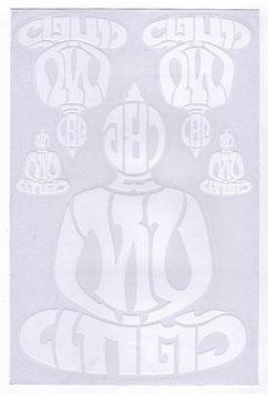 BUDDHA 仏像 坐禅 タイ文字 タイ語 アジアン ステッカー ホワイト L サイズ 1枚 【タイ雑貨 Thailand Sticker】