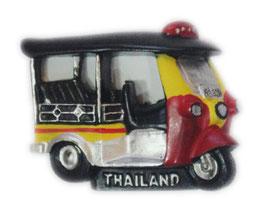 タイ王国 TUKTUK(トゥクトゥク) 3D 立体 ハンドメイド マグネット Yellow & Red  type E (イエロー・黄色 × レッド・赤 Eタイプ) 【タイ雑貨 Thailand 3D Hand made Magnet】