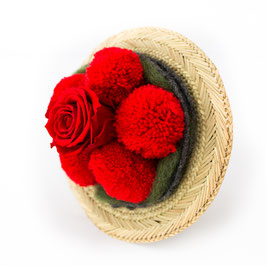 Bollenhut Strauss mit roter Rose
