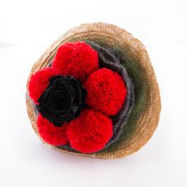 Bollenhut Strauss mit schwarzer Rose