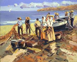 Pescadores después de la faena